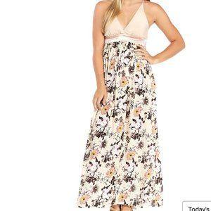 Gauze Satin X-Back Maxi Dress